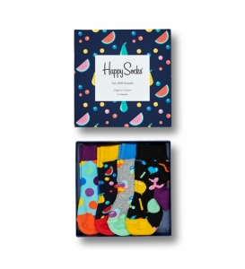 Sosete  HAPPY SOCKS  unisex KIDS FRUIT SALAD 4 PACK GIFT BOX XKID09_0100