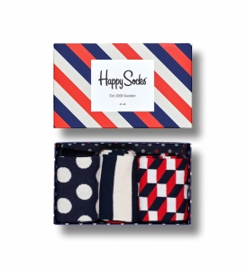Sosete  HAPPY SOCKS  unisex CLASSIC STRIPE 3 PACK GIFT BOX XSTR08_6000